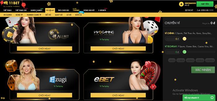 Hệ thống casino tại 11bet