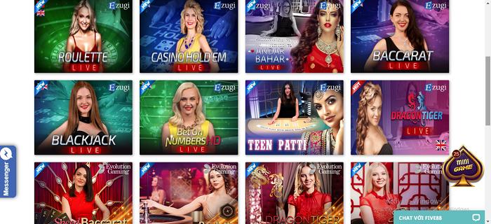 Hệ thống casino trực tuyến tại Five88