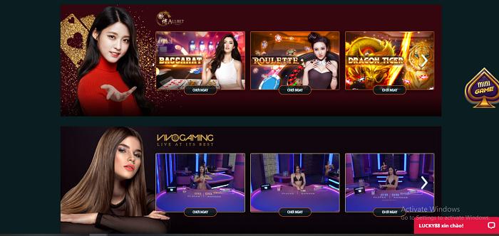 Hệ thống sòng bạc casino tại Lucky88