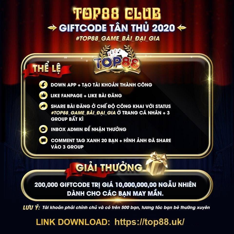 Giftcode Tân Thủ không thể bỏ lỡ tại Top88