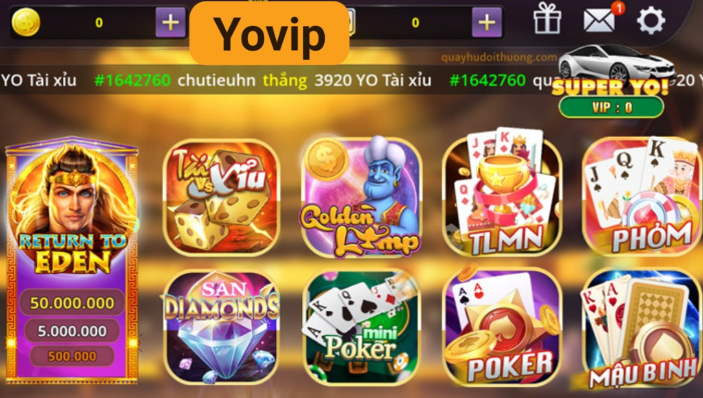 Yovip cung cấp hệ thống game đa dạng