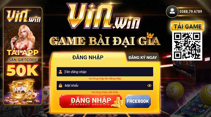 Giao diện trang chủ vào cổng game VinWin