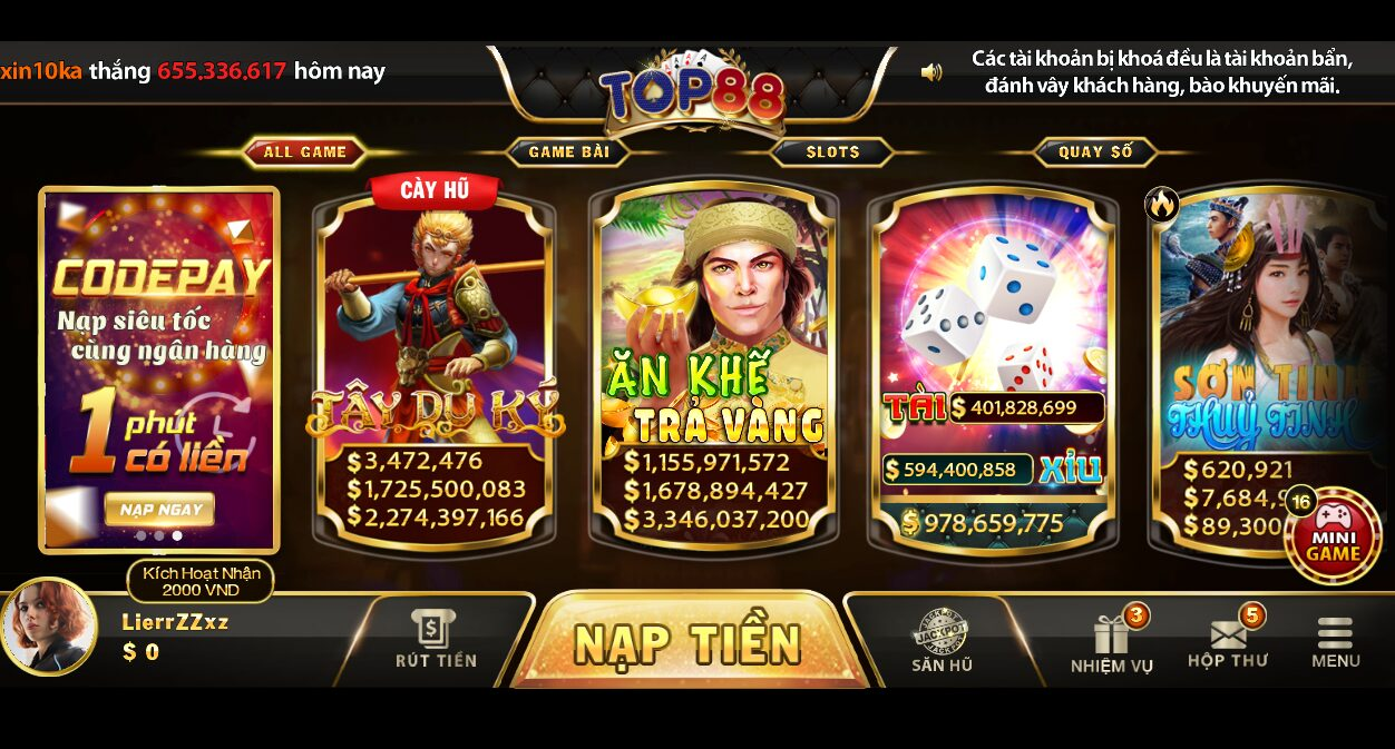Nổ hũ đổi thưởng bách phát bách trúng tại game bài Top88