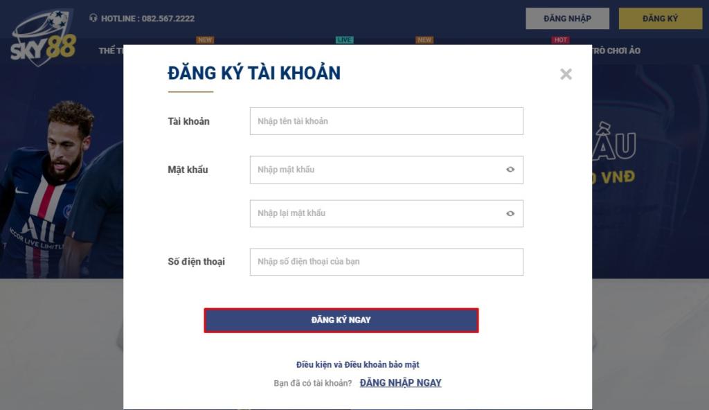 Cách đăng ký tài khoản tại Sky88
