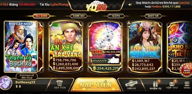 Đa dạng các game để người chơi tham gia