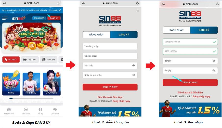 Đăng ký tài khoản nhà cái Sin88 trên app di động
