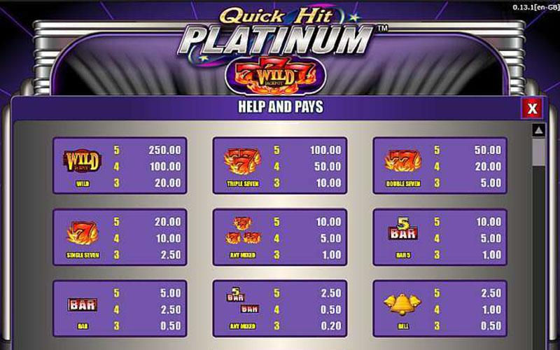Tính năng thưởng trong game slot Quick Hit Platinum